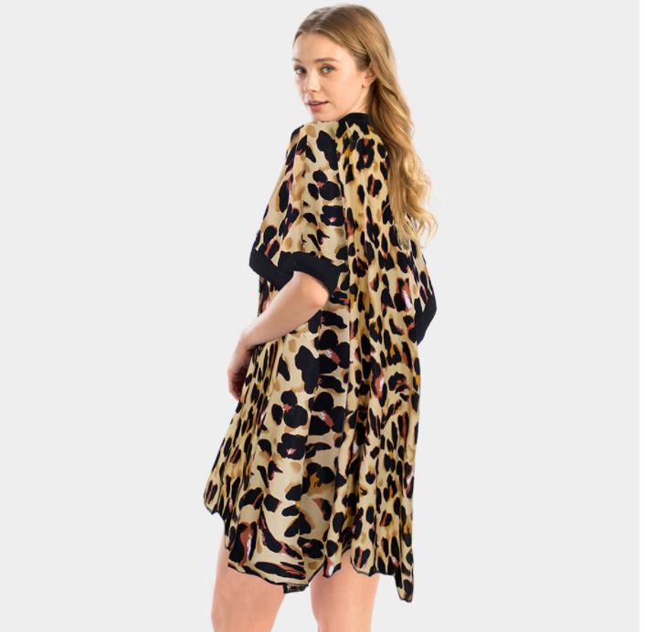 Brown Leopard Kimono