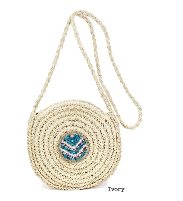 Ivory and Turquoise Straw Cross Body Bag