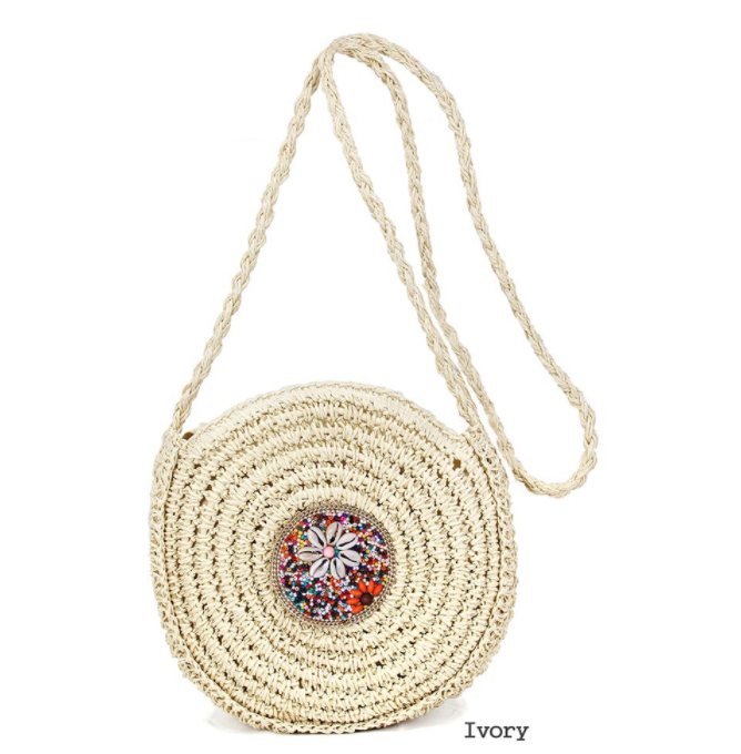 Ivory and Multi Straw Cross Body Bag