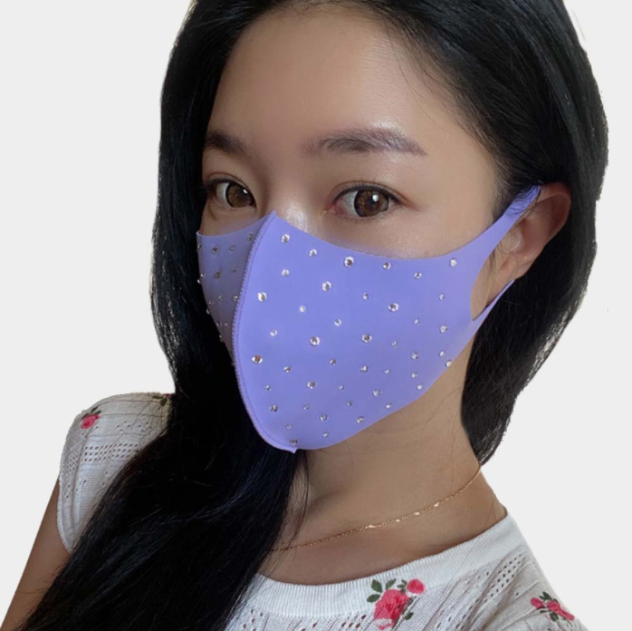 Lilac Rhinestone Face Covering