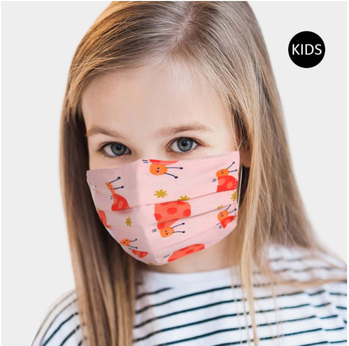 Children's Pink Lady Bug Face Covering