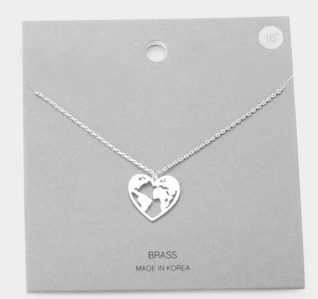 World in my Heart Necklace - Silver