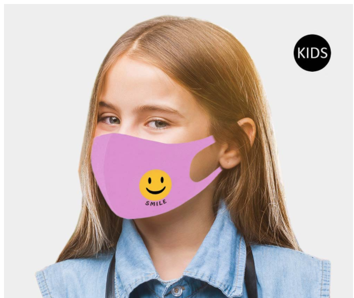 Children's Smile Face Covering - Purple