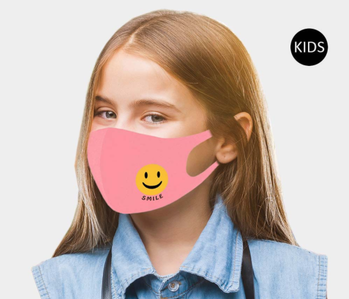 Children's Smile Face Covering - Pink