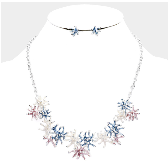 Coral Reef Statement Necklace Set