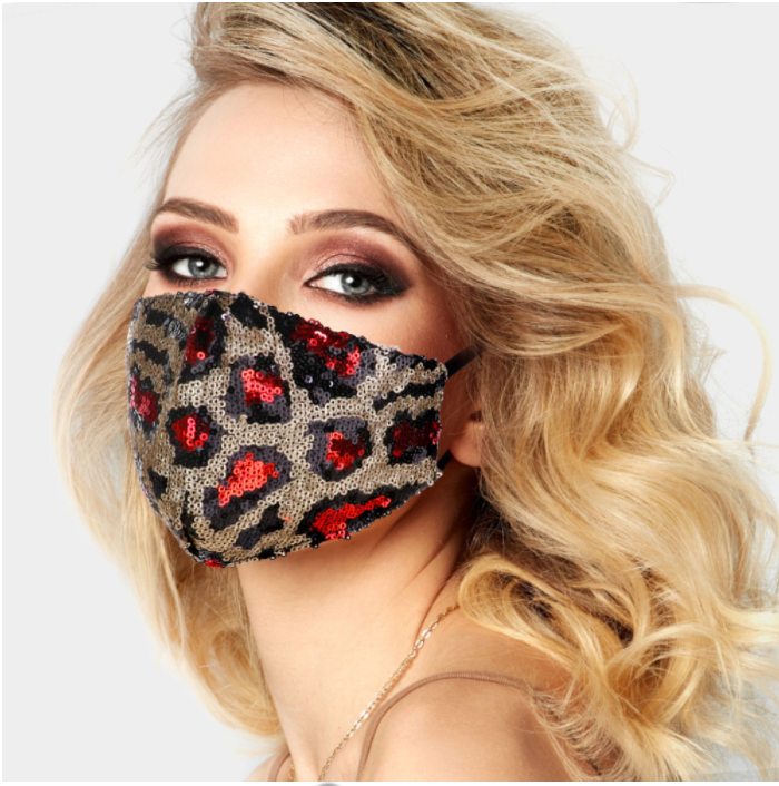 Red Spot Leopard Sequin Face Covering - Adjustable Straps
