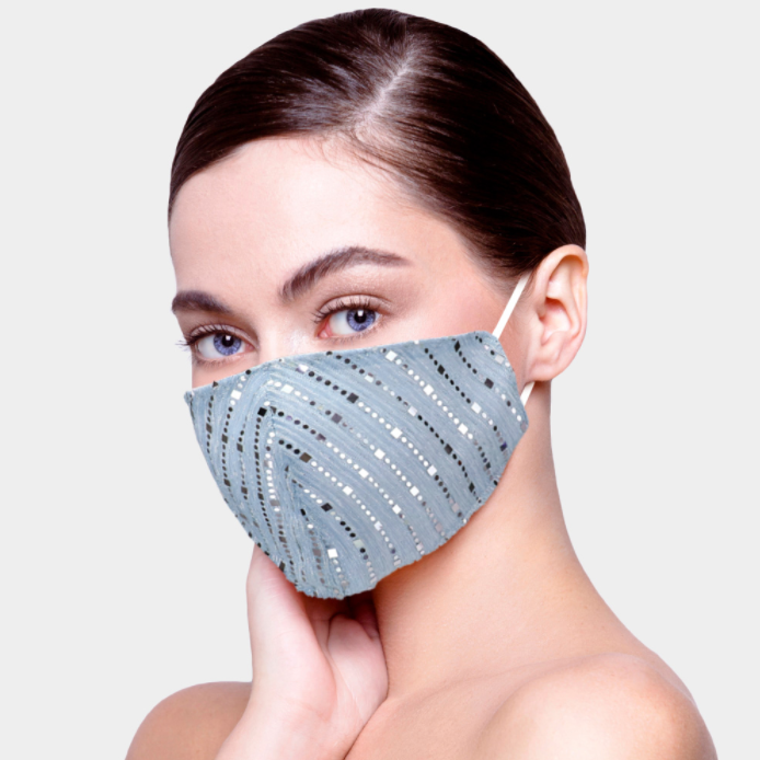 Light Gray Bling Face Covering - Adjustable Straps