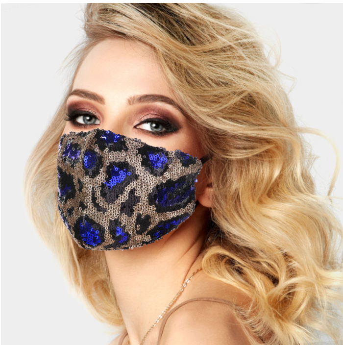 Blue Spot Leopard Sequin Face Covering - Adjustable Straps
