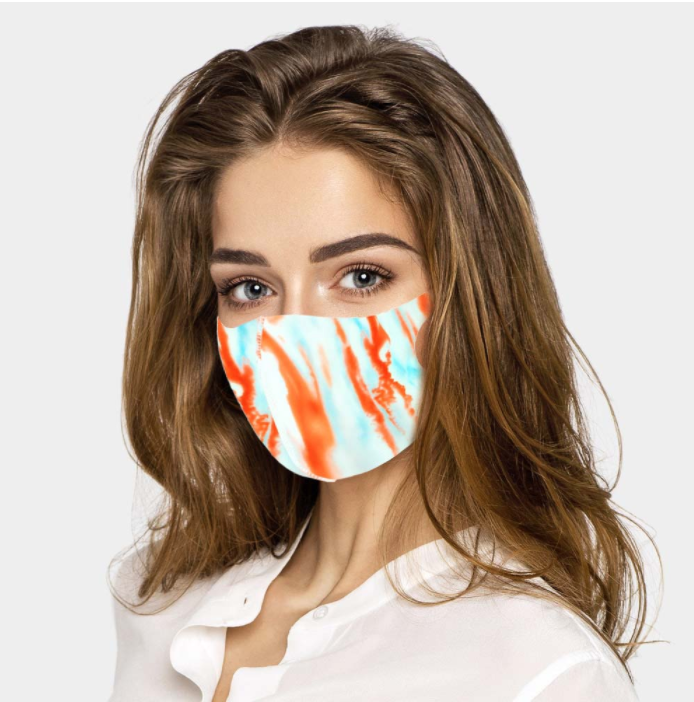 Tie Dye Face Covering - Blue Orange