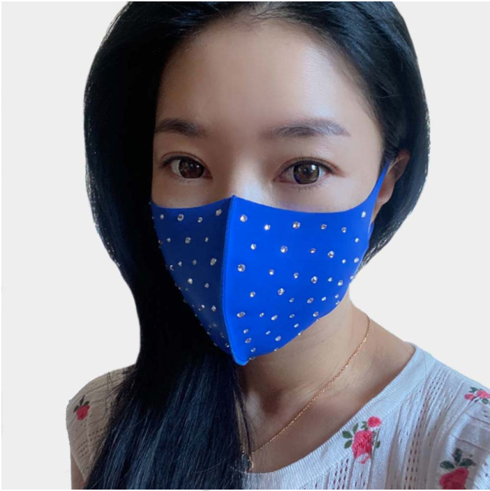 Royal Blue Rhinestone Face Covering
