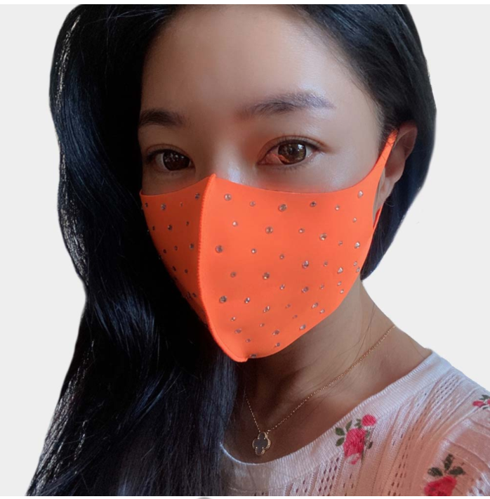 Orange Rhinestone Face Covering