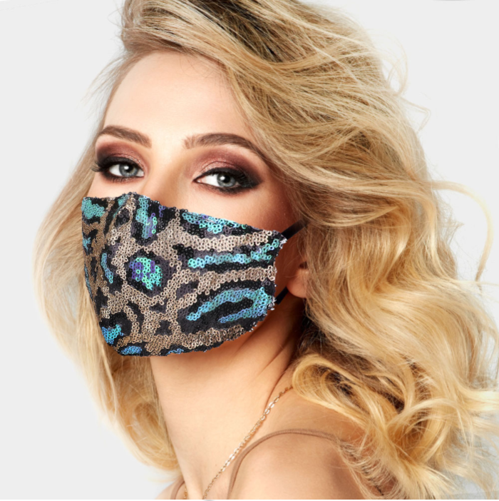 Aqua Spot Leopard Sequin Face Covering - Adjustable StrapsMy Product