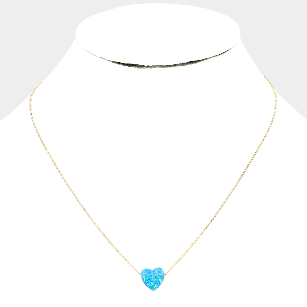 Blue Opalescent Heart Necklace