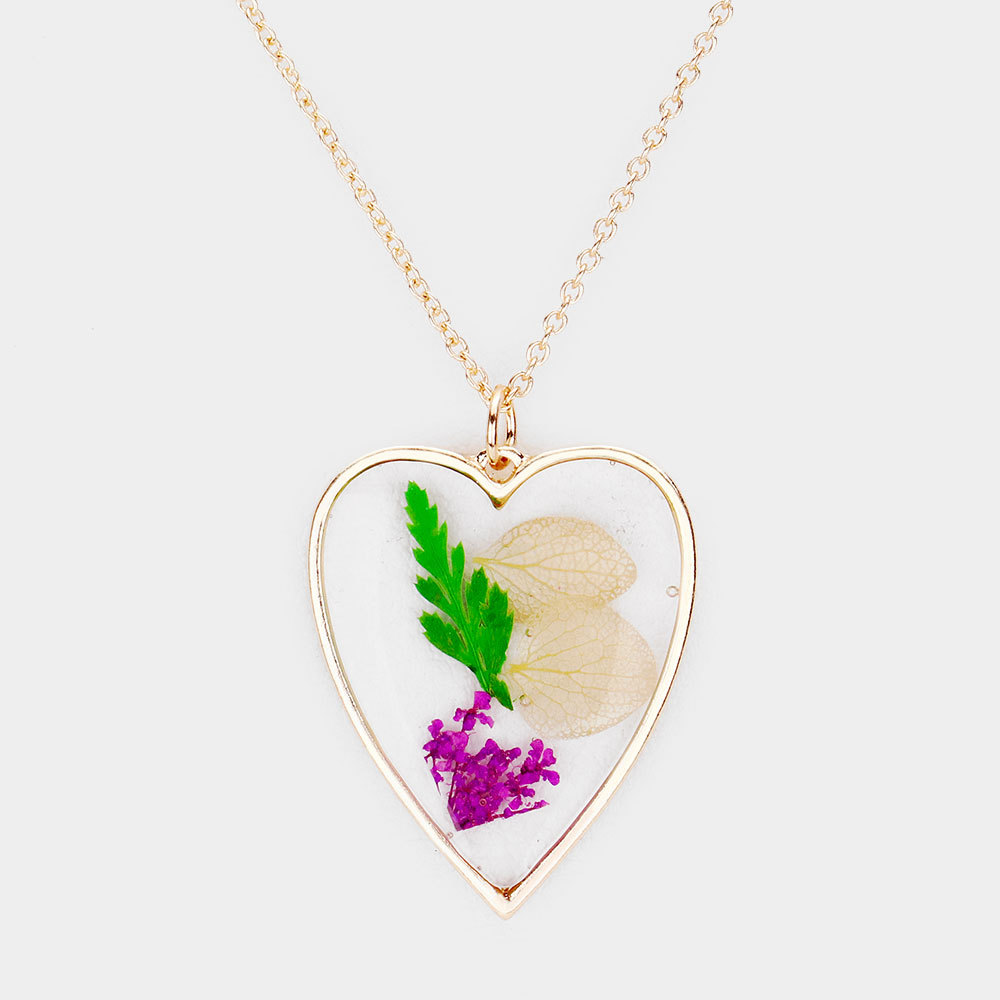 Mixed Pressed Flower Heart Necklace