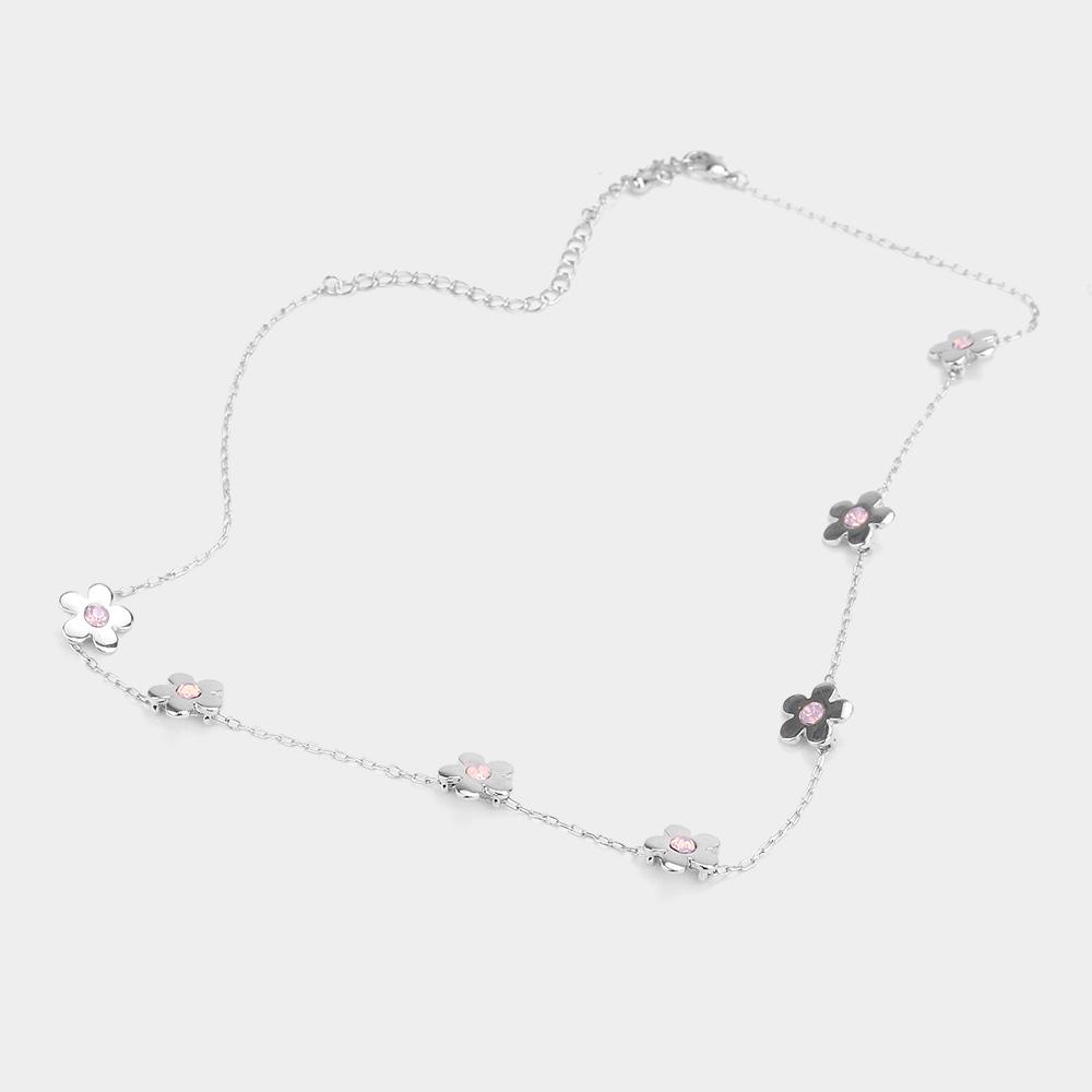 Stone Center Flower Necklace