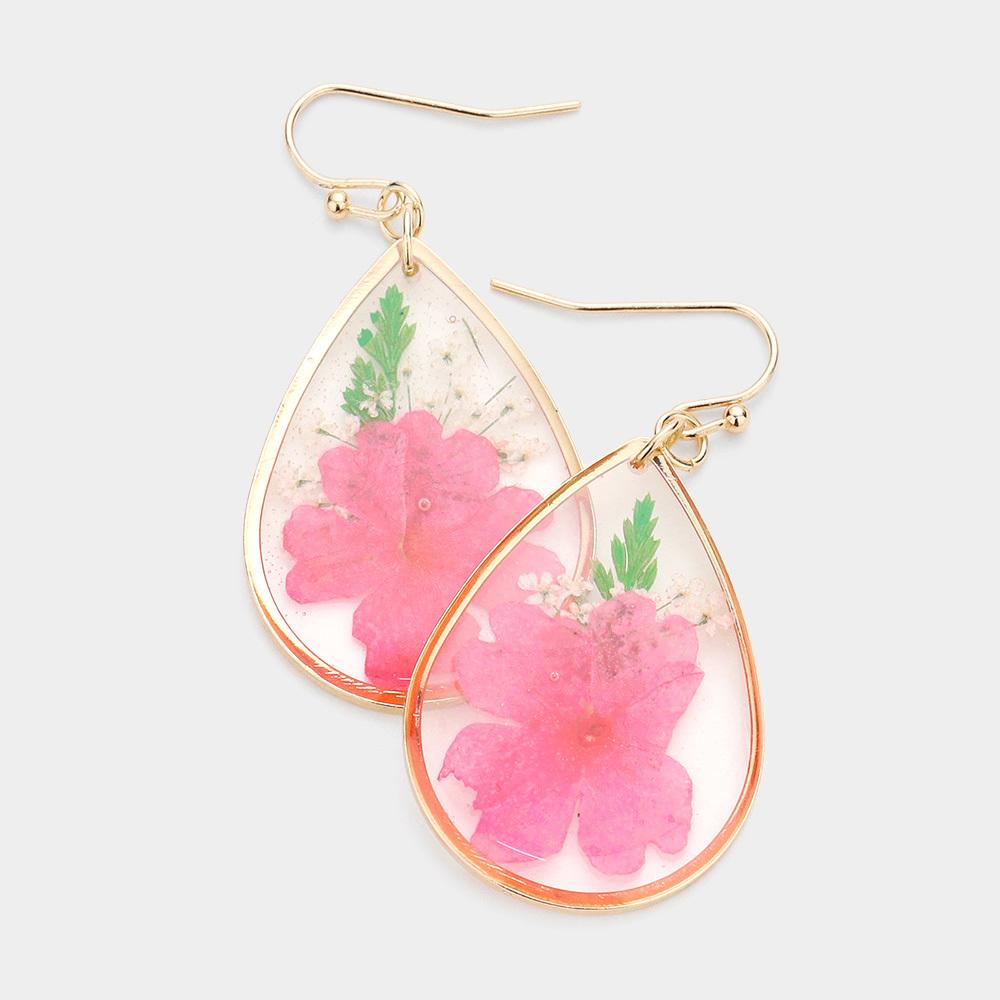 Pressed Fuschia Flower Earrings