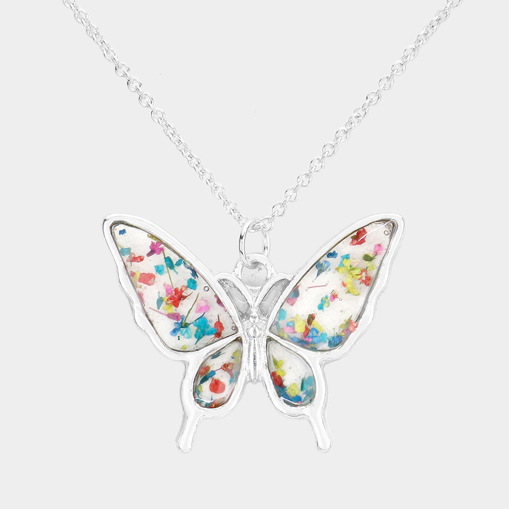Silver Pressed Flower Butterfly Necklace