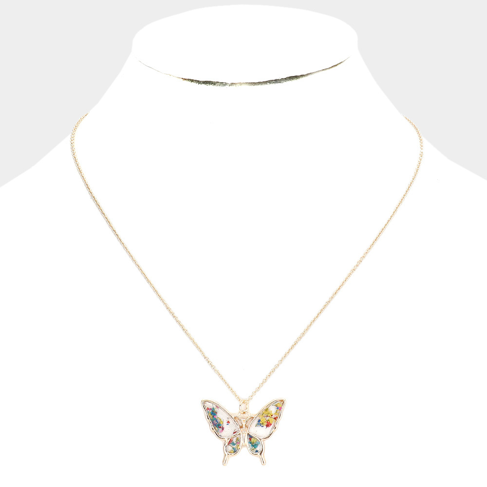 Gold Pressed Flower Butterfly Necklace
